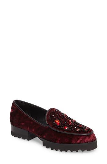 Donald Pliner Elen Beaded Velvet Loafer, Red