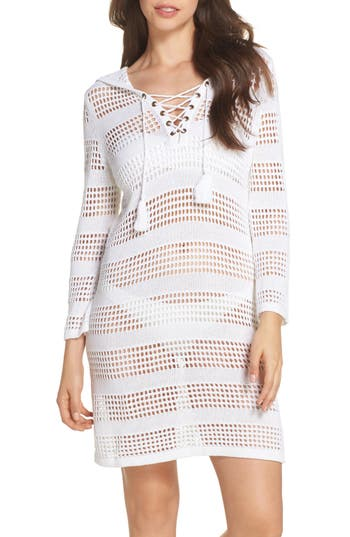 Tommy Bahama Open Stitch Hooded Cover-Up Sweater Dress, White