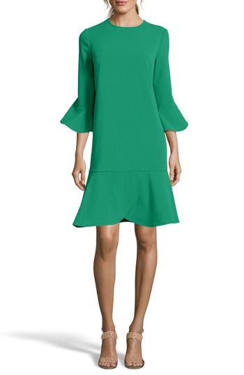 Eci Ruffle Bell Sleeve Shift Dress, Green