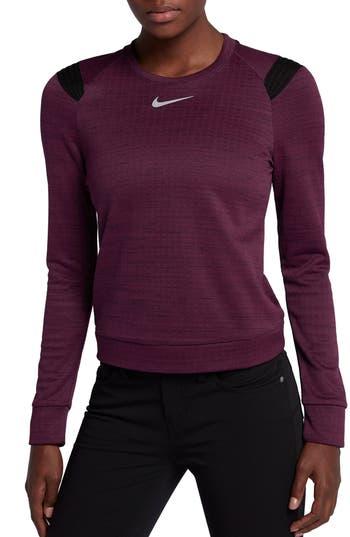 Nike Therma Sphere Long Sleeve Top, Burgundy