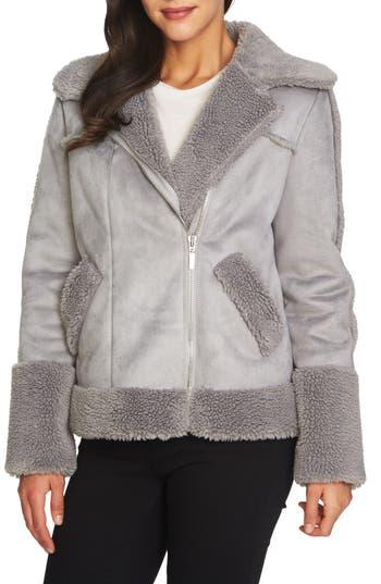 Women's 1.state Faux Shearling Moto Jacket, Size XX-Small - Grey