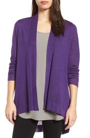 Eileen Fisher Tencel & Merino Wool Shaped Cardigan, Purple