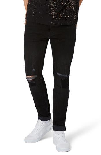 Topman Patch Stretch Skinny Jeans, Black