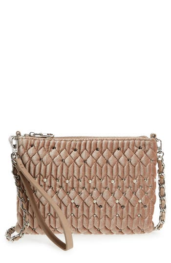 Chelsea28 Lily Quilted Velvet Crossbody Clutch - Pink