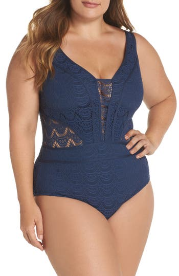 Plus Size Becca Etc. Show & Tell One-Piece Swimsuit, Blue