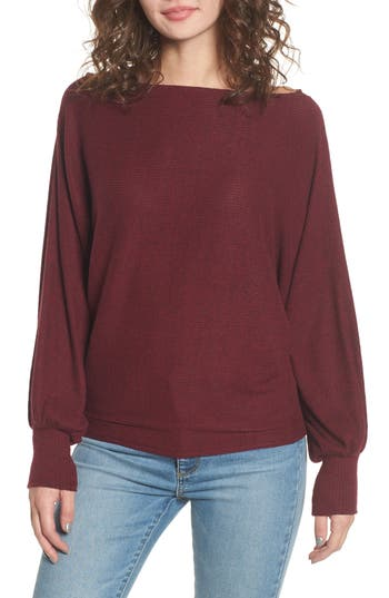 Women's Soprano Balloon Sleeve Sweater, Size X-Small - Burgundy