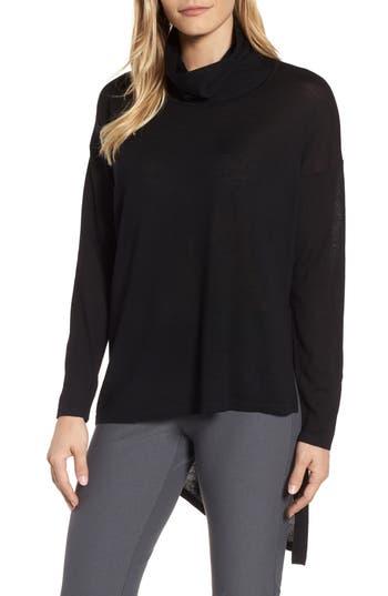 Eileen Fisher Asymmetrical Merino Wool Sweater, Black