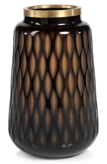 Zodax Thibo Amber Glass Vase, Size One Size - Orange