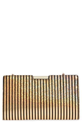 Milly Small Metallic Stripe Frame Clutch - Metallic