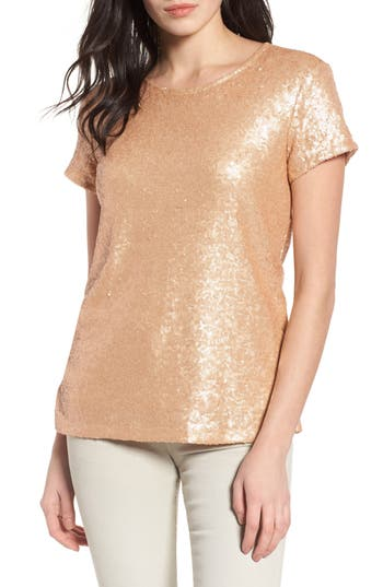 Women's Halogen V-Back Sequin Top, Size X-Small - Metallic