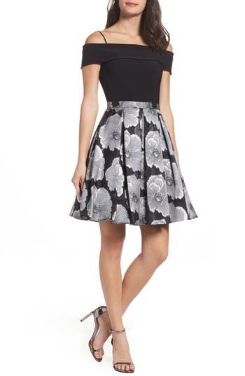 Morgan & Co. Mixed Media Off The Shoulder Dress - Black