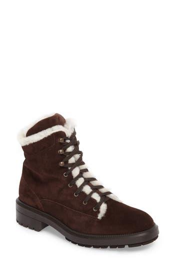 Aquatalia Lenore Weatherproof Genuine Shearling Lining Boot, Brown