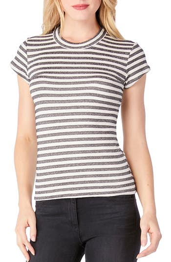 Michael Stars Stripe Crewneck Top, Size One Size - Ivory