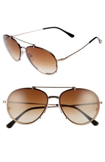 Tom Ford Dickon 5m Aviator Sunglasses - Rose Gold/ Brown