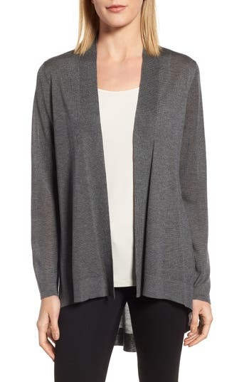 Eileen Fisher Tencel Lyocell & Merino Wool Shaped Cardigan, Grey