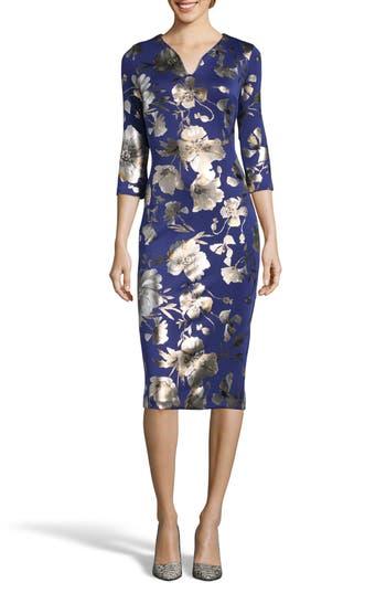 Eci Foil Print Sheath Dress, Blue