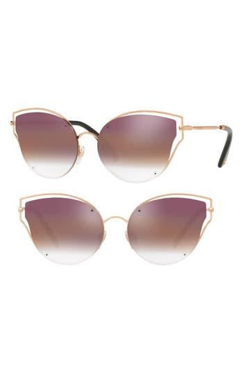 Women's Valentino 58Mm Gradient Mirrored Angular Sunglasses - Pink Havana