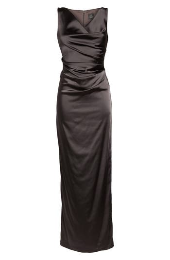 Adrianna Papell Stretch Satin Gown, Beige
