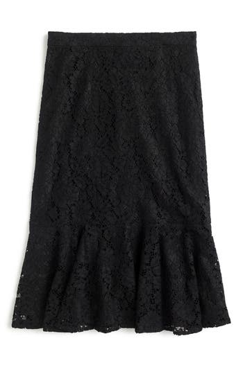 J.crew Lace Trumpet Skirt, Black