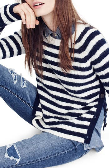 Women's J.crew Stripe Cable Knit Sweater With Buttons, Size Small - Blue