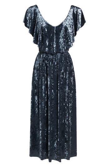Nsr Crushed Velvet Midi Dress, Blue