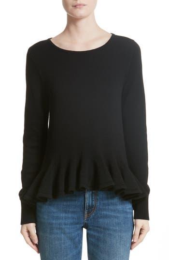 Women's Co Ruffle Peplum Wool Sweater, Size X-Small - Black