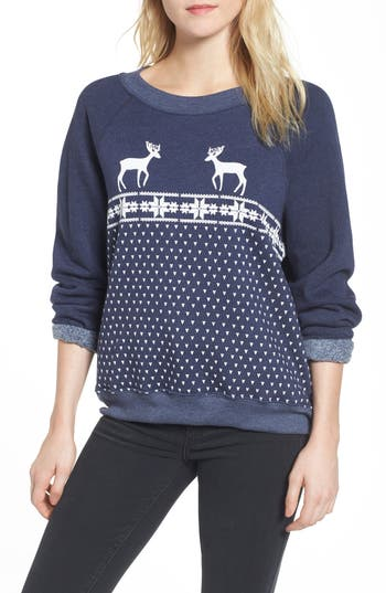 Women's Wildfox Snow Deer Sweatshirt, Size Medium - Blue