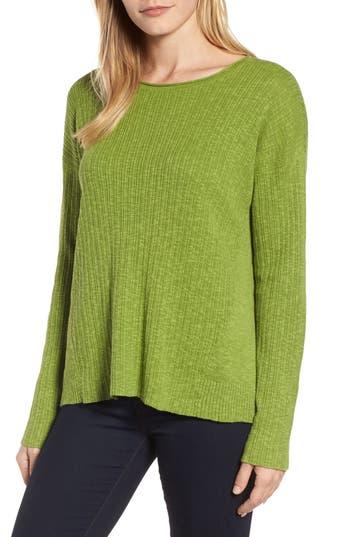 Women's Eileen Fisher Organic Linen & Cotton Crewneck Sweater, Size XX-Small - Green