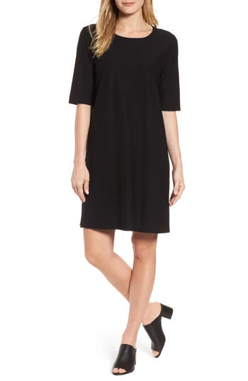 Eileen Fisher Stretch Knit Shift Dress, Black