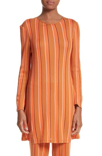 Women's Simon Miller Capo Metallic Stripe Knit Tunic Dress, Size 0 - Orange