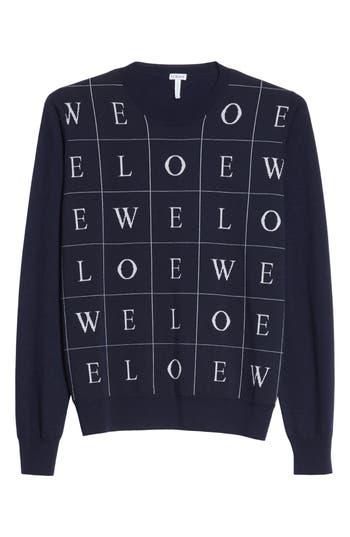 Loewe Letters Wool Sweater, Blue