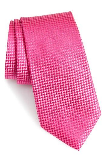 Men's Nordstrom Men's Shop Check Silk Tie, Size Regular - Pink