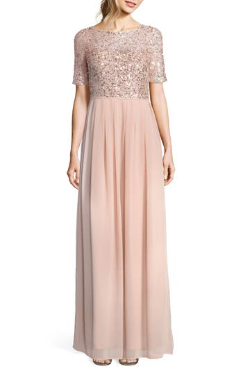 Adrianna Papell Beaded Bodice Georgette Gown, Pink