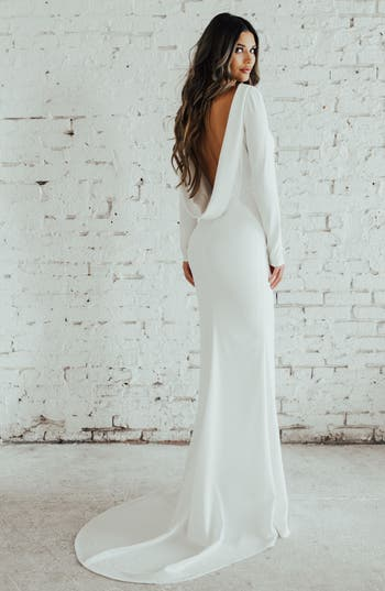 Noel and Jean by Katie May Wasson Cowl Back Crepe Gown