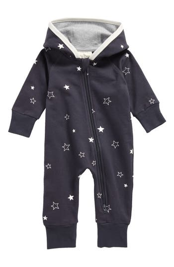 Infant Boys City Mouse Stars Hooded Organic Cotton Romper
