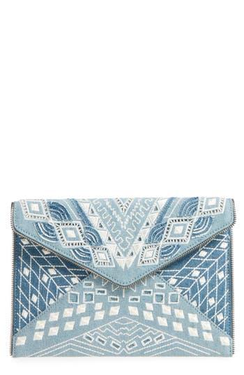 Rebecca Minkoff Leo Embroidered Denim Clutch - Blue
