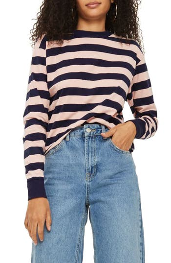 Topshop Bold Stripe Crewneck Top, US (fits like 0) - Pink