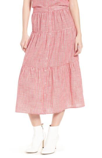 Ten Sixty Sherman Gingham Tiered Midi Skirt, Red
