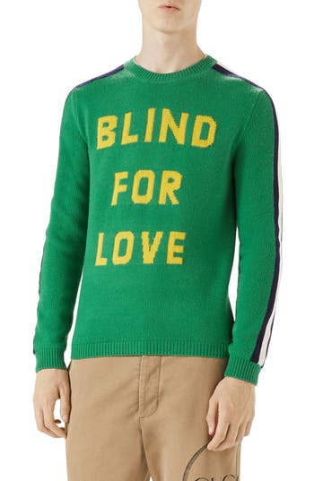 Gucci Blind For Love Snake Wool Crewneck Sweater, Green