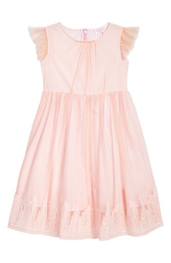Girl's Popatu Embroidered Tulle Dress, Size 4 - Pink