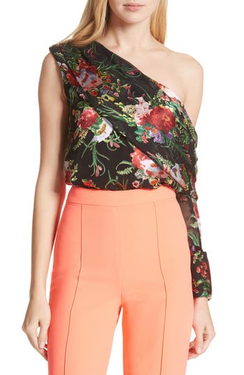 Women's Alice + Olivia Serita One-Shoulder Floral Top, Size X-Small - Black