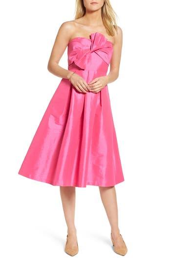 Women's 1901 Bow Bodice Strapless Midi Dress, Size 0 - Pink