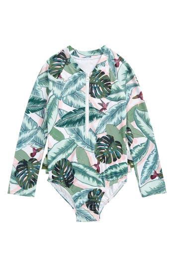 Girl's Seafolly Palm Beach Rashguard Swimsuit, Size 4 - Green