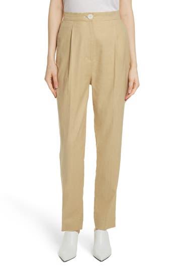 Women's Robert Rodriguez Pleat Front Linen Blend Pants, Size 14 - Beige