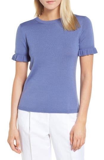 Lewit Tie Back Merino Wool & Silk Sweater, Blue