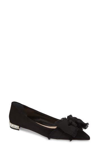 Women's Miu Miu Embellished Heel Bow Flat, Size 5US / 35EU - Black
