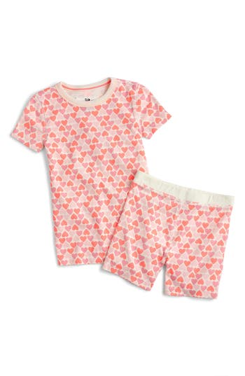 Girls Crewcuts Stacked Hearts Fitted TwoPiece Pajamas