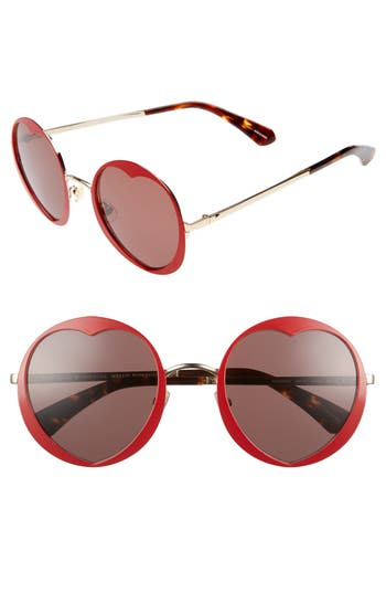 Women's Kate Spade New York Rosaria 53Mm Heart Cutout Lens Sunglasses - Matte Red/ Havana/ Burgundy