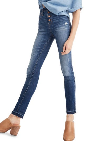 10-Inch High Waist Drop Hem Skinny Jeans