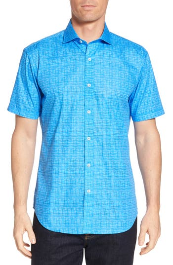 Men's Bugatchi Freehand Shaped Fit Sport Shirt, Size Small - Blue